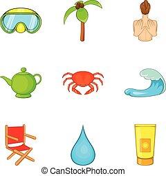 récréation, icônes, ensemble, style, actif, dessin animé