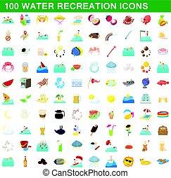 récréation, icônes, ensemble, style, eau, 100, dessin animé