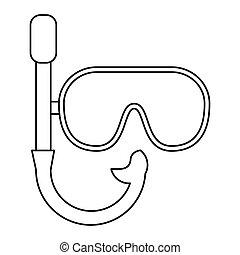 récréation, masque, vacances, snorkel, ligne mince