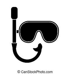 récréation, snorkel, masque, vacances, pictogramme