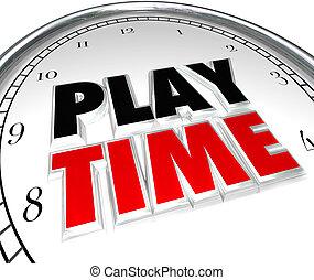 récréation, vacances, horloge, temps, jeu, activité sports, amusement