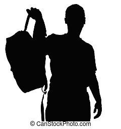 récréation, vecteur, silhouette, homme