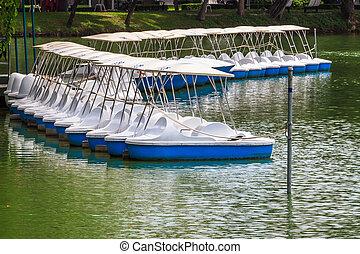 récréation, verrouillé, equipment., lac, marina, paisible, ...