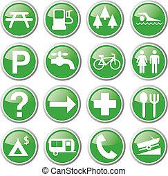 récréation, vert, icônes