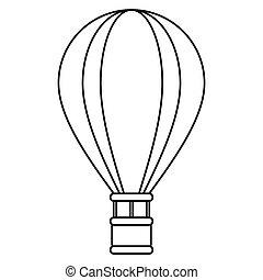 récréation, voyage, airballoon, contour, aventure