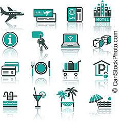 récréation, voyage, ensemble, vacances, &