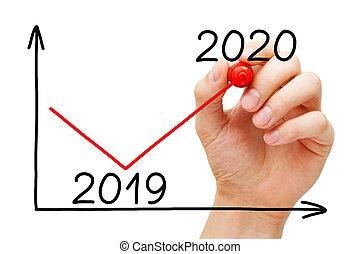 récupération, 2020, graphique, business, année, concept