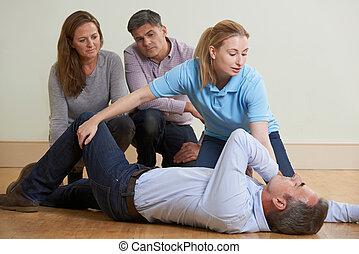 récupération, classe, aide, démontrer, premier, formation, position, femme