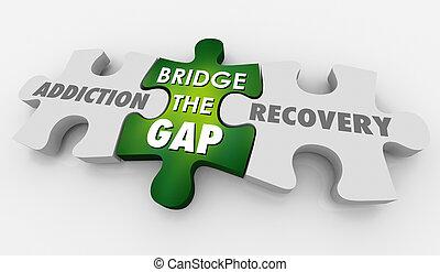récupération, dépendance, puzzle, illustration, traitement, trouée, pont, 3d