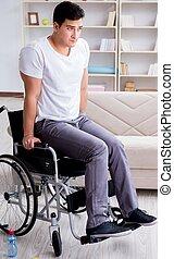 récupération, homme, maison, handicapé, blessure