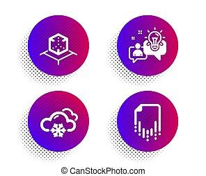 récupération, icônes, solution., set., neige, virtuel, idée, vecteur, fichier, temps, flocon de neige, réalité, réalité, signe., augmented