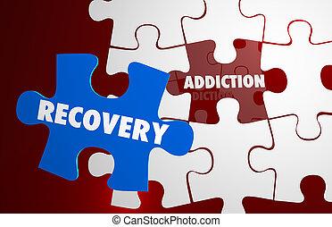 récupération, mots, dépendance, puzzle, habitude, coup de pied, illustration, 3d