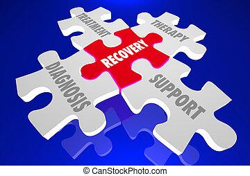 récupération, soutien, illustration, morceaux, thérapie, traitement, diagnostic, puzzle, 3d