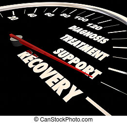 récupération, soutien, illustration, traitement, diagnostic, compteur vitesse, 3d