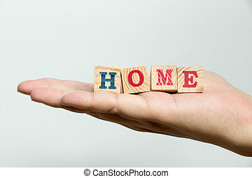 rédaction, béton, bois, fond, maison, prise, bloc, homme