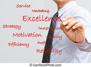 rédaction, commercialisation, homme affaires, excellence, écriture