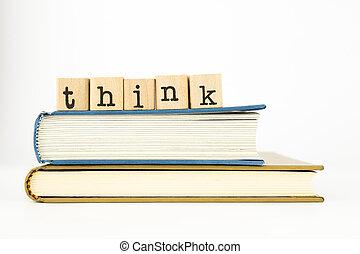 rédaction, livres, pile, penser