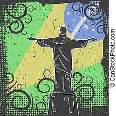 rédempteur, fond, christ, statue