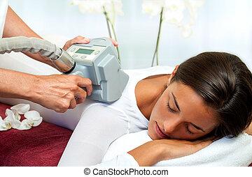 réduction, femme, cellulite, avoir, massage.