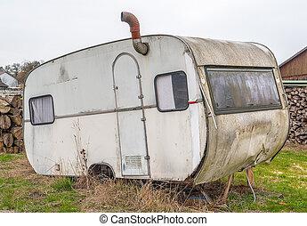 réduction, vieux, caravane