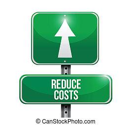 réduire, illustration, signe, coûts, conception, route