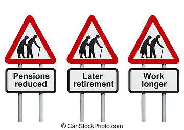 réduit, pensions, retraite, later