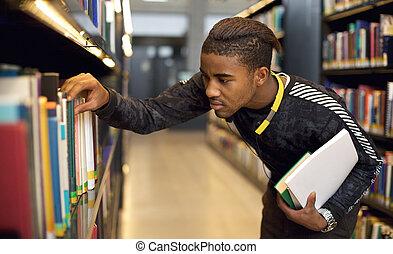 référence, université, jeune, bibliothèque, regarder, livres, étudiant