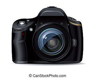 réflexe, appareil photo, moderne, numérique