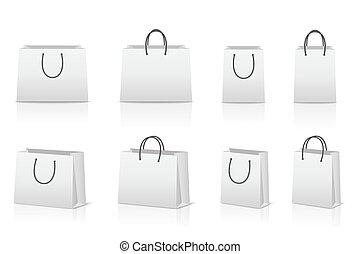 réflexion., sacs, papier, achats, vide