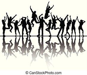 réflexion., silhouettes, danse, peuples