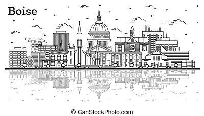 réflexions, contour, idaho, isolé, bâtiments, horizon, ville...