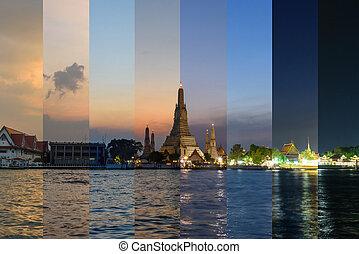 réflexions, couleur, coucher soleil, différent, arun, ratchawararam, rivière, wat, temps, ombre, ratchawaramahawihan