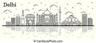 réflexions, inde, isolé, bâtiments historiques, horizon, ville, white., delhi, contour