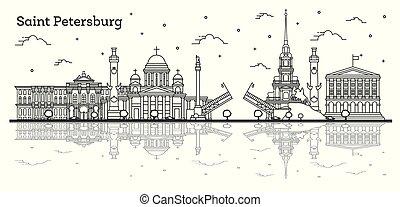 réflexions, isolé, saint, historique, russie, ville bâtiments, horizon, petersburg, white., contour