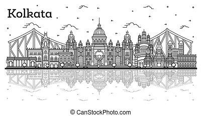 réflexions, kolkata, inde, isolé, bâtiments historiques, horizon, ville, white., contour