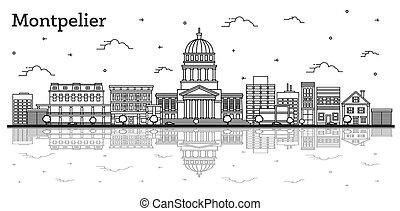 réflexions, vermont, isolé, ville bâtiments, horizon, white...