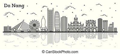 réflexions, vietnam, isolé, da, nang, bâtiments historiques, horizon ville, white., contour
