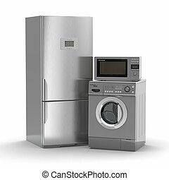 réfrigérateur, appliances., lavage, maison, maching., micro ...