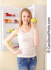 réfrigérateur, sourire, pomme verte, girl