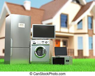 réfrigérateur, tv, 3d, appliances., lavage, ordinateur ...