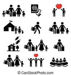 réfugié, immigrants, icônes, familles