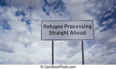 réfugié, traitement, devant, signe
