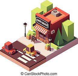 régimódi bevásárlás, isometric, vektor
