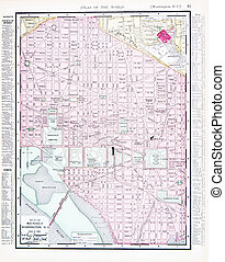 régimódi térkép, egyenáram, usa, szín, utca, washington