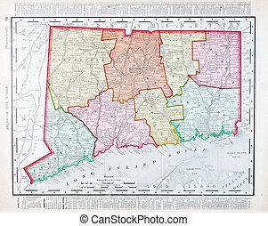régimódi térkép, egyesült, szín, connecticut, egyesült államok