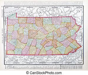 régimódi térkép, egyesült, usa, pennsylvania, egyesült államok, apa