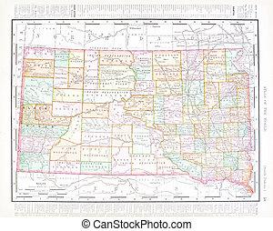 régimódi térkép, egyesült, usa, szín, egyesült államok, dakota, déli