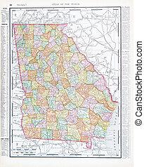 régimódi térkép, egyesült, usa, szín, egyesült államok, grúzia, ga