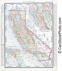 régimódi térkép, egyesült, usa, szín, egyesült államok, kalifornia