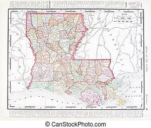 régimódi térkép, egyesült, usa, szín, egyesült államok, louisiana
